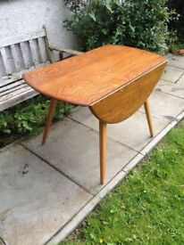 Mid Century Ercol Oval Round Drop Leaf Dining Table
