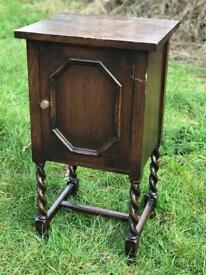 Vintage oak barley twist pot cupboard