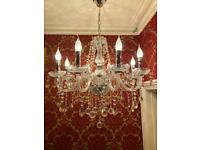 Large hand cut lead crystal chandelier, light , lamp LED . Vintage , modern , antique