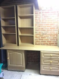 Bedroom or Study furniture - fitted desk and shelving unit, floor to ceiling. Excellent for studying