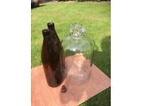 "Home Brew, Screw Top, Brown Glass, 1.2 Litre Bottles PLUS a clear glass 4.9L ""Demi-John"""