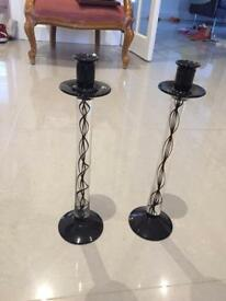 Black glass candlestick holders