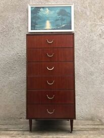 Mid Century Teak Tall Boy Chest of Drawers by Meredew