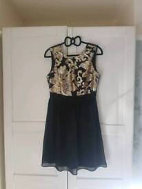 Maya Deluxe Black and Gold Sequin Dress, Size 12