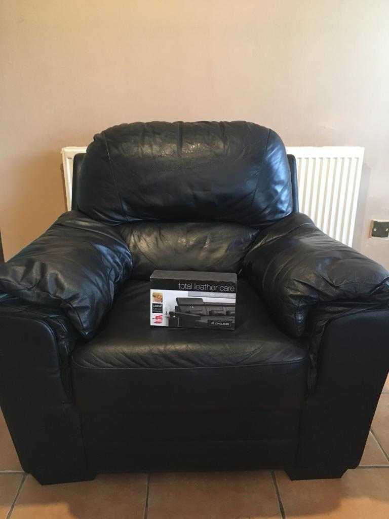 Black Leather Chair And Care Kit