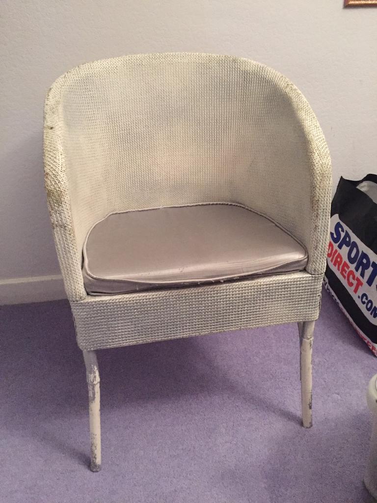 Silver wicker chair shabby sheek