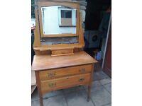 Vintage/Antique Pine Ladies Dressing Table with Mirror