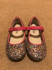 Girls Sparkly Party Shoes with Pink Detail - M&S Junior Size 8