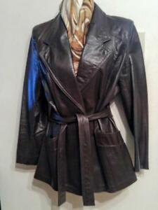Oakville BAGATELLE XS Leather Jacket 34 Dark brown Free Retro Scarf Short Coat Spring Vtg
