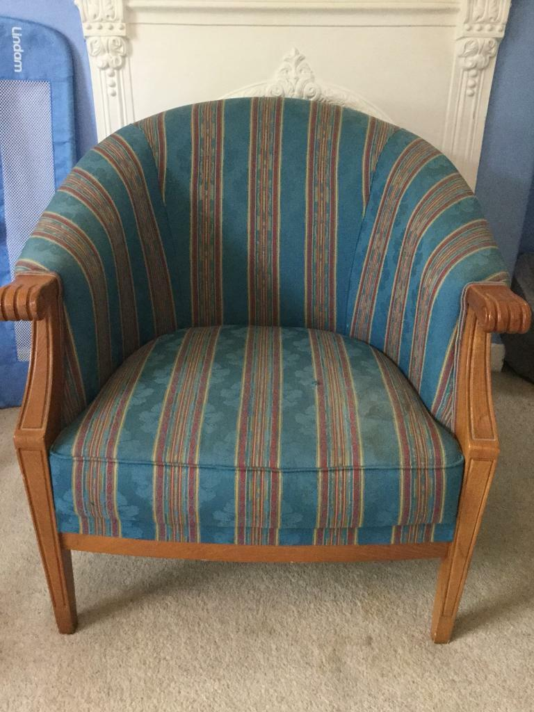 Quality Blue Striped Fabric Tub Chair Armchair With