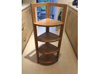 Oak corner shelf unit