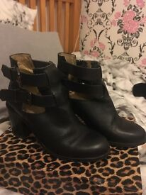 Office Black buckle ankle boots size 6