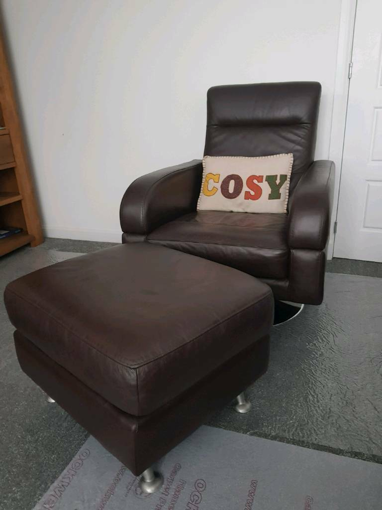 Compact Real Leather Corner Sofa Bespoke Matching Swivel Arm Chair With Foot Stool