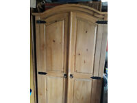 Pine Double Corona 2 Door Wardrobe