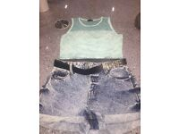 River Island Denim Shorts size 8 & Mint Green Lace Summer Cropped Top Size12