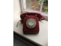 Red Retro style dialling phone