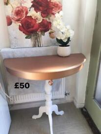 Copper half moon table