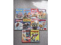 10 comic annuals - 3 Hotspur, 1 Tiger, 1 Valiant and 5 Victor Book for Boys