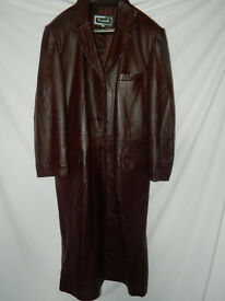 : Flalaian maroon leather full length coat size XL.