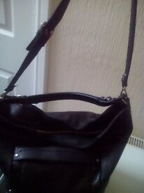 Zara black leather look bucket bag