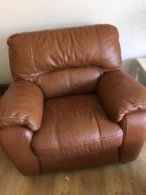DFS leather chair and footstool