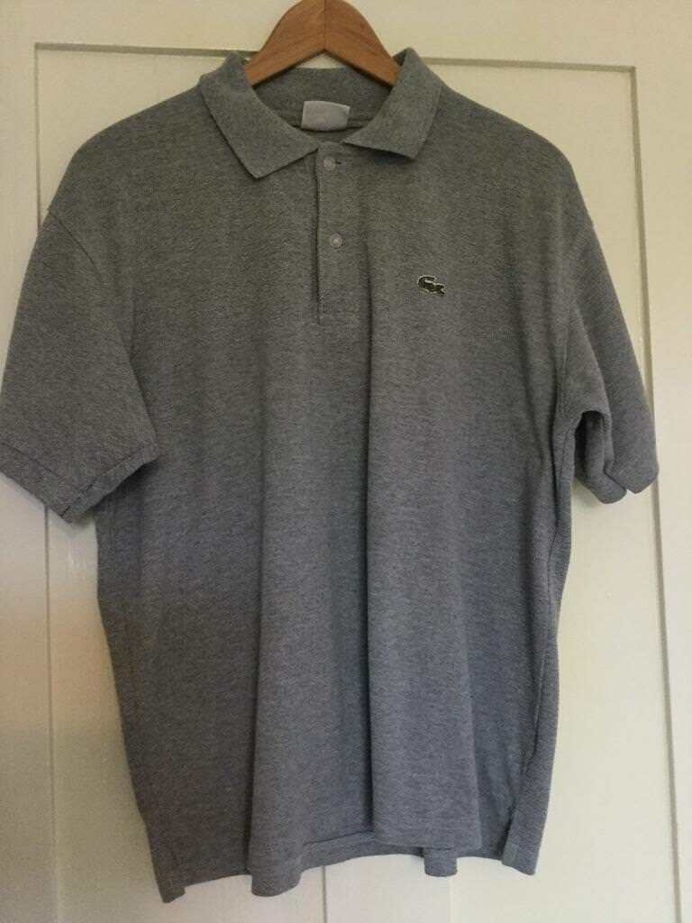 LACOSTE grey polo shirt size S/M