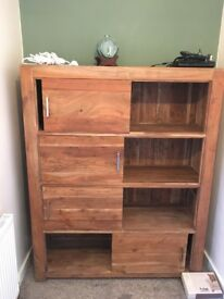 Hardwood bookcase/ drawers