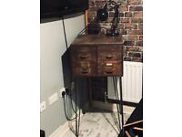 Vintage industrial wooden army sorting box on pin legs lamp table bedside table