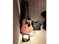 "STARSUN SPANISH ""CUT AWAY"" GUITAR FITTED WITH A PICK UP,PLUS AMPLIFIER ,ETC"