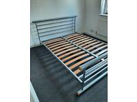 "Metal silver bed frame 4ft 6""standard double wood slats"