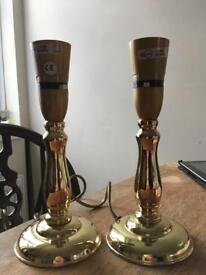 Pair gold lamps