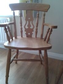 2 Pine Fiddleback chairs=used but in very good condition