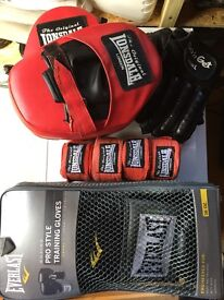 Fitness gear bundle, boxing/sparring gloves, focus mits, hand wraps