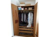 IKEA PAX wardrobe, oak veneer, with two shelves, hanging rail and three drawers, 100cm x 201cm