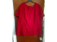 Ladies Size 28 Red Laced Lined Top