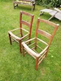 2 french chairs needing new wicker seats