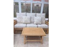 Conservatory Set - 3 piece sofa, 3 tables as New Condition