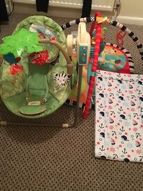 Baby swing,changing mat & playgym