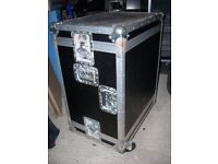 6U shock proof flightcase on wheels