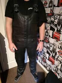 Motorcycle leather bib n brace