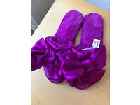 MARKS & SPENCER PURPLE FUR BOW SATIN SLIPPERS UK SIZE 6 NEVER WORN!