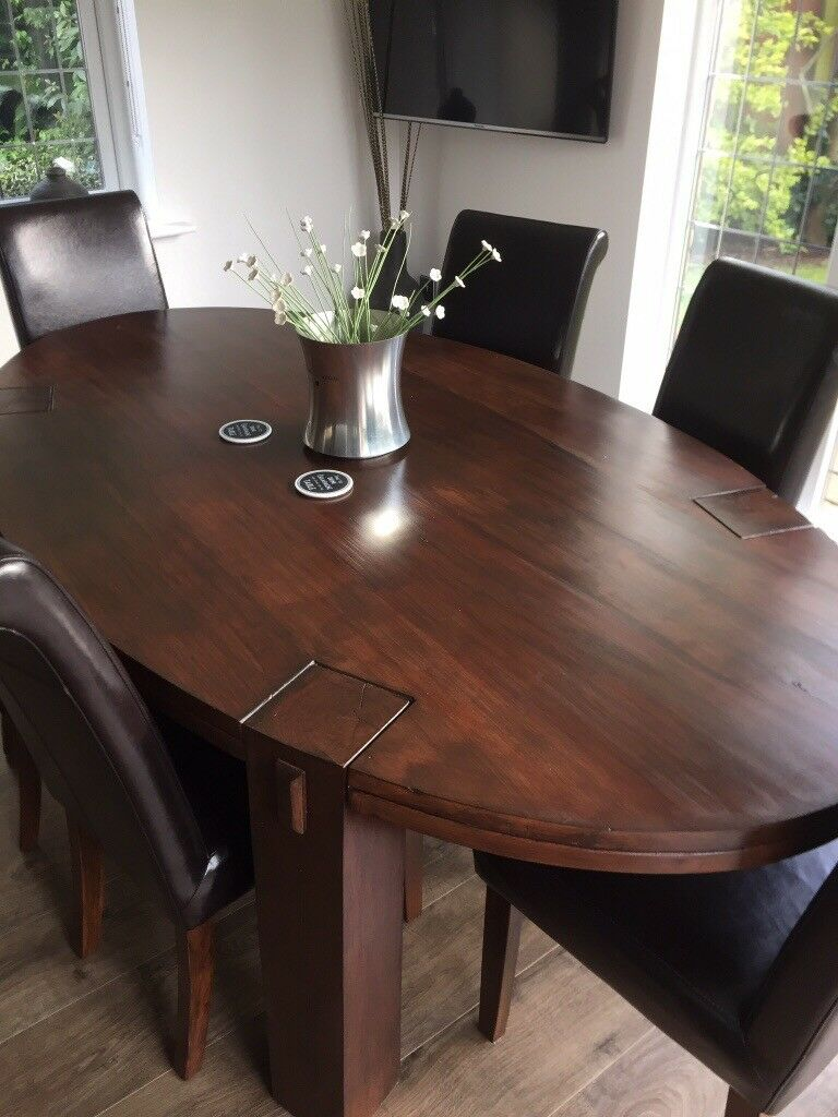 Large Oval Wooden Dining Table And 6 Chocolate Brown Chairs
