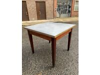 Wooden table and metal dining table or desk