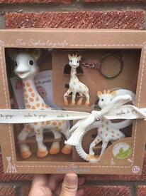 "Genuine trio ""Sophie la girafe"" baby soother."