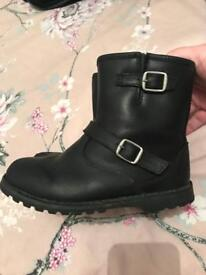 Black leather girls ugg boots size 11