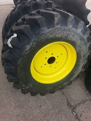 Two 15x19.5 R4 Galaxy John Deere 650 750 Backhoe Tractor Tires W 6 Hole Rims