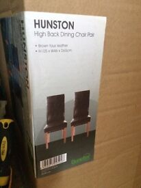 2 x Brown faux leather chairs $65