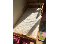 Junior Toddler solid pine bed with deep sprung mattress mint condition