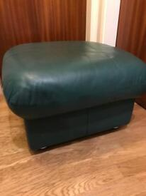 Green Leather effect footstool