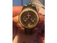 Women's fossil watch chocolate and rose gold coloured